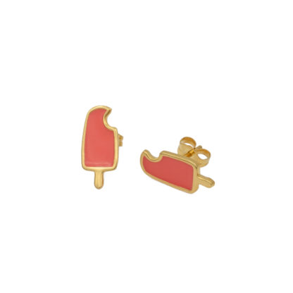 popsicle earrings in gold vermeil with coral enamel