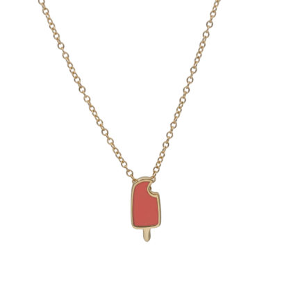 popsicle necklace in 14k gold filled with mandarin enamel