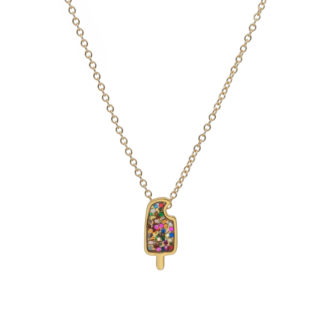 popsicle necklace in 14k gold filled with multiglitter