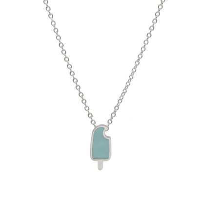popsicle necklace in sterling silver with mint green enamel