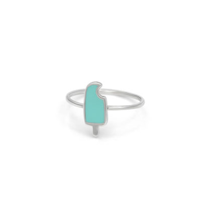 popsicle ring in sterling silver with mint green enamel