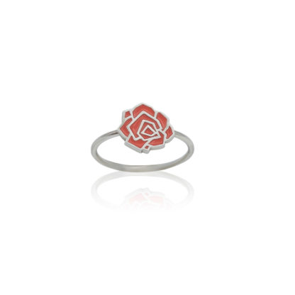 rose ring in sterling silver with coral enamel