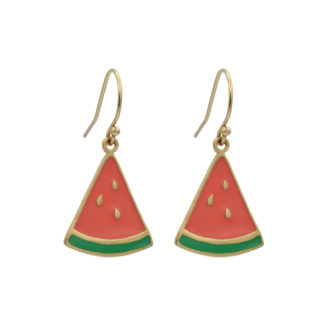 watermelon dangling earrings in gold filled