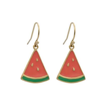 watermelon dangling earrings in gold filled