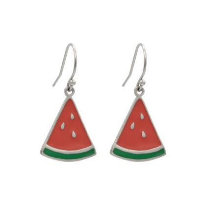 watermelon dangling earrings in sterling silver