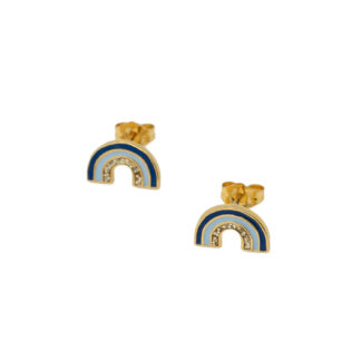 rainbow studs in gold vermeil with blue and glitter enamel