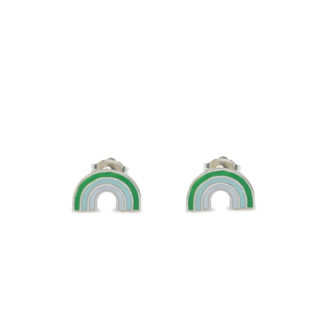 rainbow studs in 925 sterling silver with grass and mint green enamel