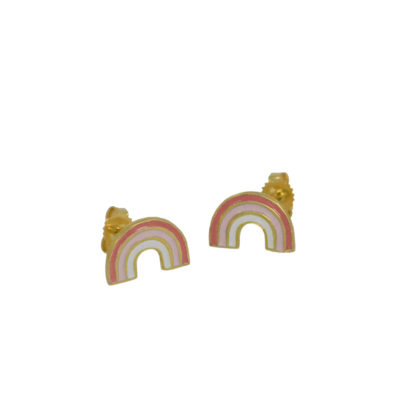 rainbow studs in 14kt gold vermeil with coral and pastel pink enamel