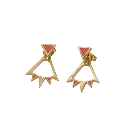 Bunting Ear Jacket in gold vermeil with coral enamel