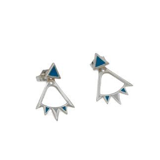 Bunting Ear Jacket in sterling silver with teal blue enamel