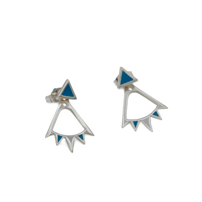 Bunting Ear Jacket in sterling silver with teal blue enamel