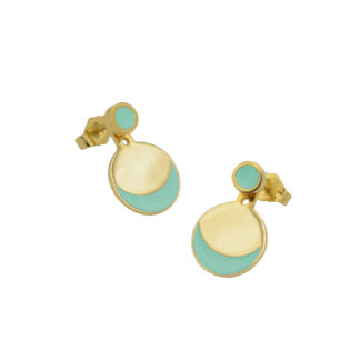 Eclipse ear jacket earrings in gold vermeil with mint green enamel