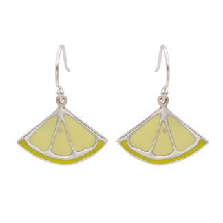 lemon dangling earrings in sterling silver 925