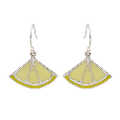 lemon dangling earrings in sterling silver 925