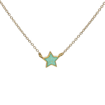 Polka dot star necklace gold and mint