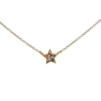 Star necklace gold and multiglitter