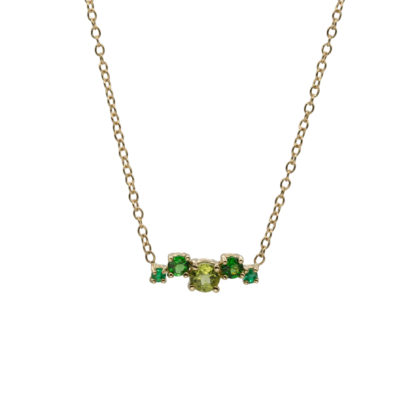 green gemstone cluster in 14k solid gold necklace