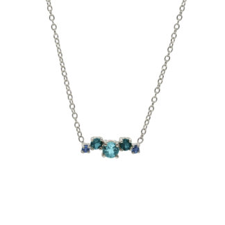 blue gemstone cluster in 925 sterling silver necklace