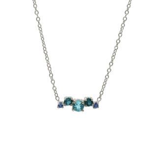 blue gemstone cluster in 925 sterling silver necklace
