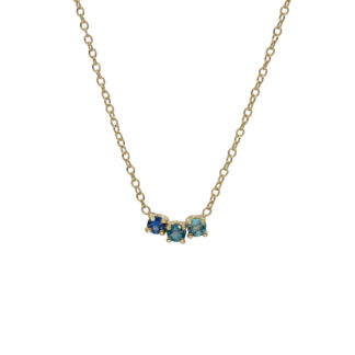 Gradient blue gemstones Arch necklace in 14kt gold