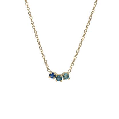 Gradient blue gemstones Arch necklace in 14kt gold