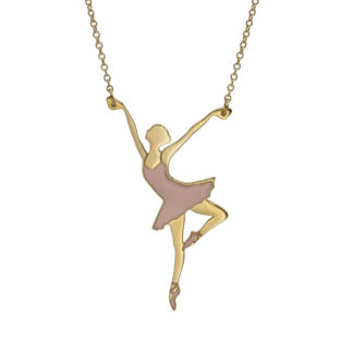 ballerina necklace gold filled with pastel pink enamel