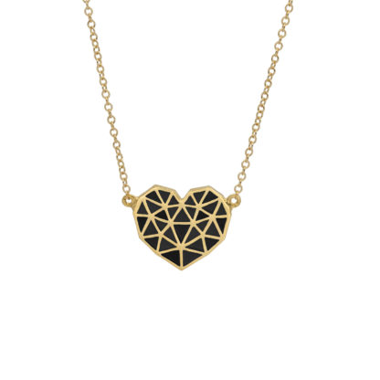 Black Heart necklace made up of triangles