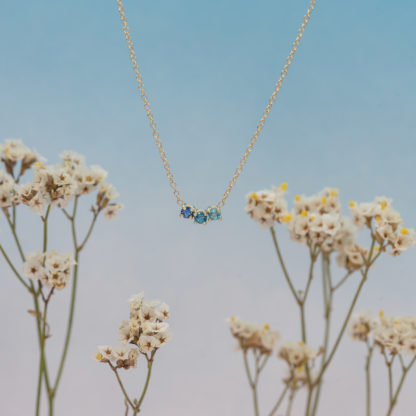 blue arch gradient necklace in flowers