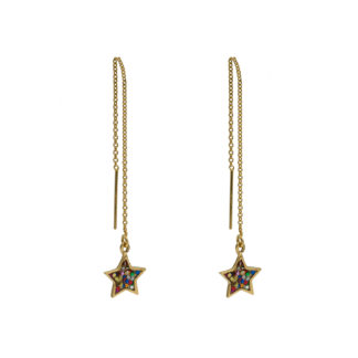 star ear threaders in gold filled with multiglitter