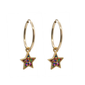 star hoop earrings in gold filled with multiglitter