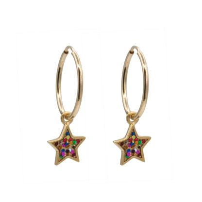 star hoop earrings in gold filled with multiglitter