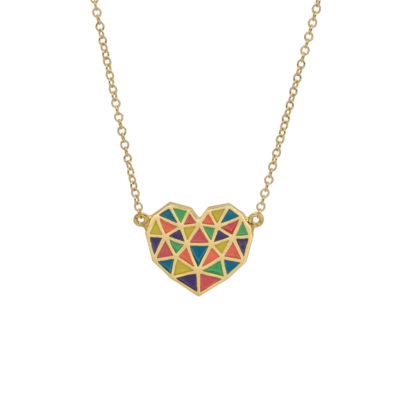 heart necklace made up of colorful triangles