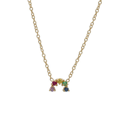 arch rainbow gemstones necklace in 14kt solid gold