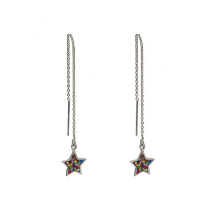 star ear threaders in sterling silver with multiglitter