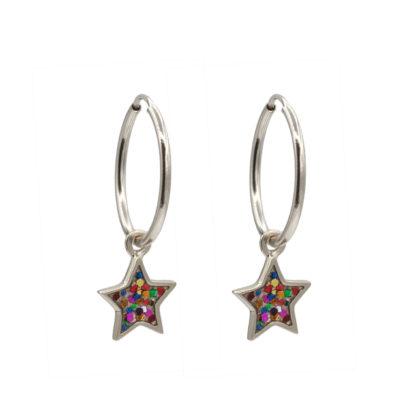star hoop earrings in sterling silver with multiglitter