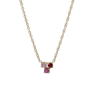 Trio necklace 14k gold with pink gemstones
