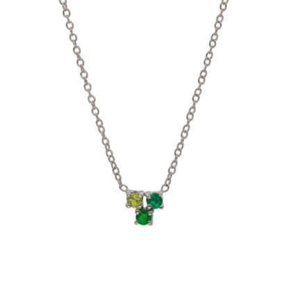 Trio necklace sterling silver with green gemstones
