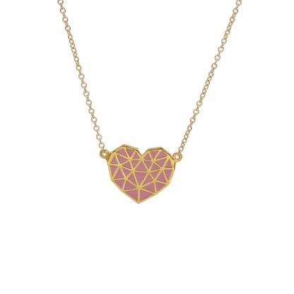 bonbon pink gold heart geometric necklace
